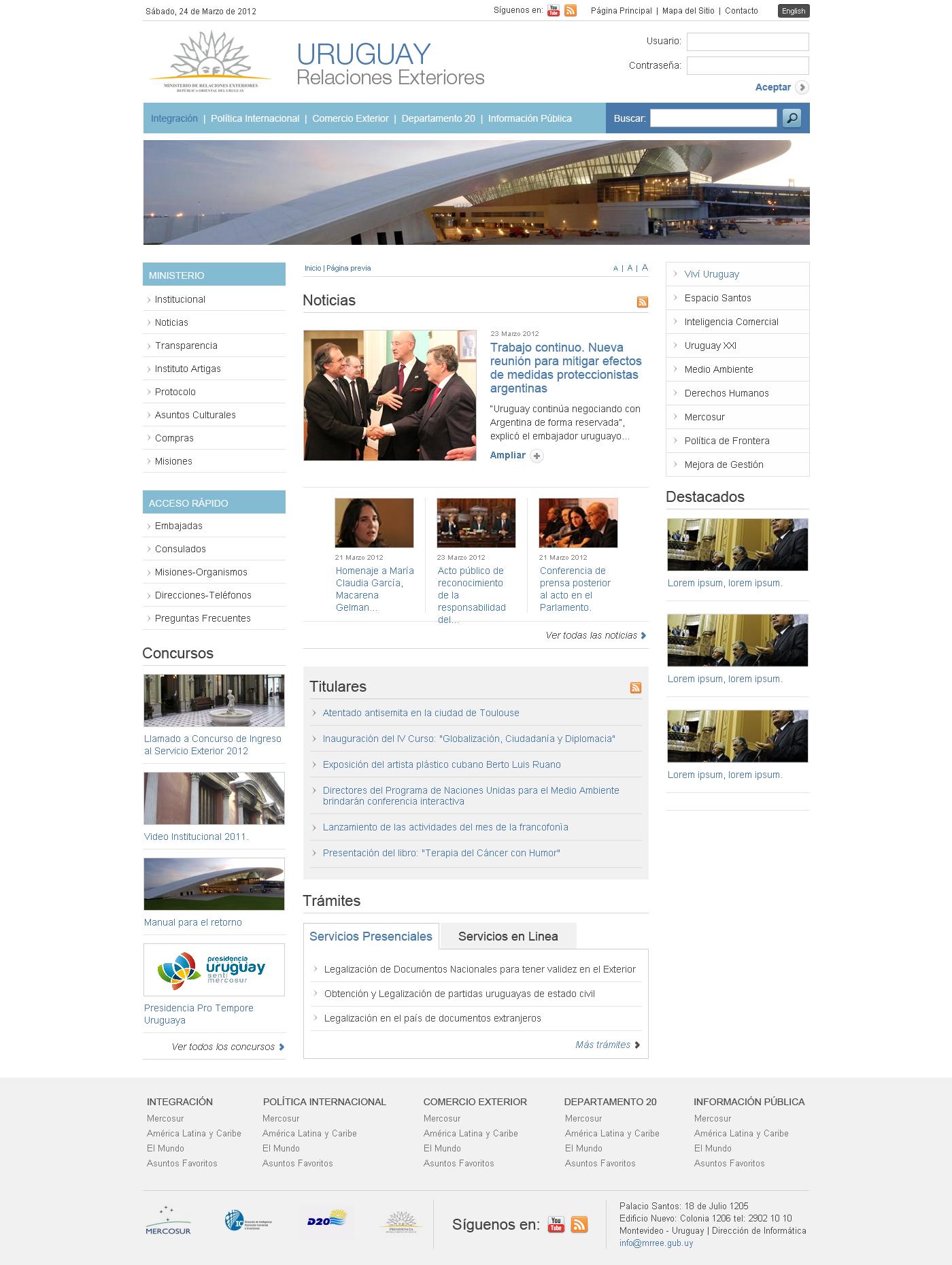 Ministerio de relaciones exteriores actotal for Pagina web ministerio interior
